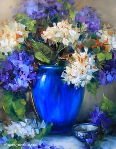 New Day Blue Hydrangeas - Flower Paintings by Nancy Medina, painting by artist Nancy Medina