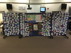 "I'm the Choral Director at New Prague MS in New Prague, MN.  We celebrated MIOSM by presenting a concert on March 5th.  This concert was a joint concert between 6th-8th gr.choirs.  We had about 310 singers in the concert and filled our gym to capacity with audience members. 2 weeks prior, we created a display that we displayed outside the gym for the audience to see as they came in to the concert.  We printed the ""Music Makes Me _____ !"" photo that Nafme provided and made it into a banner."