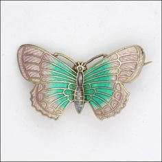 English Art Deco Silver Enamel Butterfly Pin -  signed OT&S This item is currently listed at www.rubylane.com to be included in the #RubyRedTagSale at 30% off beginning at 8 am PDT on 7/19/16. @rubylanecom