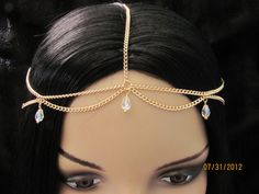 Crystal Dangle Head Chain Gold Plated 5 Strand  Chain Headpiece chain headdress Circlet Gypsy. $23.00, via Etsy.