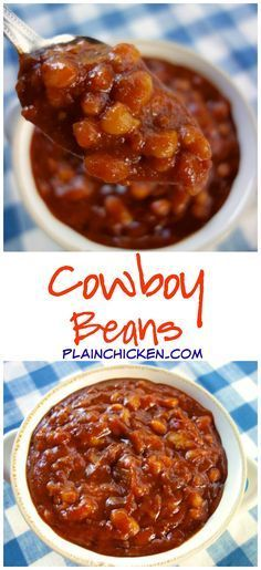 Cowboy Beans Recipe - white beans, bacon, onion, BBQ sauce, ketchup, honey, brown sugar, garlic, mustard, chili powder and vinegar - Bring to a boil and cook for 15 to 20 minutes! Quick homemade baked bean recipe. Great for a potluck!
