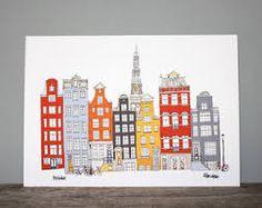 Afbeeldingsresultaat voor grachtenhuizen tekenen
