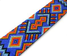 Colorful beadwoven bracelet  ethnic style beaded by Anabel27shop, $90.00