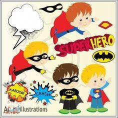Cute superhero clipart set illustrations