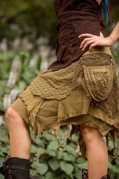 Pleiadian Pocket Skirt (Khaki) Festival Clothing Crochet Boho Wrap Around Gypsy Pocket Skirt Goa Fairy Jungle Bohemian Skirt Goa, Fairy Clothes, Bohemian Skirt, Fairy Dress, Festival Outfits, Festival Clothing, Festival Wear, Fashion Project, Costumes