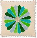 Blue Green Velvet Throw Pillow