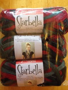 3 Skeins Of Starbella Ruffle Yarn! Sugar Cane! $12.50 SHIPPED! Black Reds Gray #Starbella #Ruffle