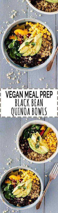 Vegan Meal Prep Black Bean Quinoa Bowls - vegan, vegetarian, gluten free. Love making these in batches and having them on-the-go for easy lunches at work!