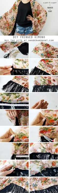 DIY: fringed kimono is creative inspiration for us. Get more photo about home decor related with by looking at photos gallery at the bottom of this page. We are want to say thanks if you like to share this post to another people via your facebook, pinterest, google plus or …