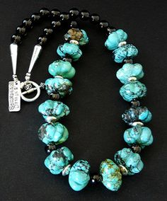 Carved Turquoise Flower Bead Necklace with  Smoky Quartz Rounds and Sterling Silver
