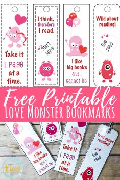 Free Printable Bookmarks: Funny Monster Valentine's Day Bookmarks These love monster printable bookmarks are perfect to use during the Valentine's Day season! They are funny and cute, perfect for young readers. Printable Valentine Bookmarks, Free Valentine Cards, Valentines Day Book, Bookmarks Kids, Valentines For Kids, Valentine Crafts, Valentine Ideas, Valentine Party, Valentine Stuff