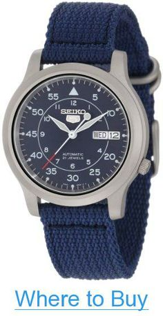 7009c98253f Amazon.com  Seiko Men s SNK807 Seiko 5 Automatic Stainless Steel Watch with  Blue Canvas Band  Seiko  Watches