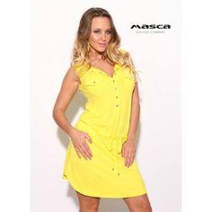 Masca Fashion ékszerpatentos dekoltázsú, galléros citromsárga tunika, miniruha, derekán behúzott megkötővel Bodycon Dress, Dresses, Fashion, Tunic, Vestidos, Moda, Body Con, Fashion Styles, Dress