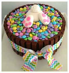Bunny M&M Cake for Easter or Kid's Party
