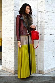 jupe longue femme plissée, tendances de la mode