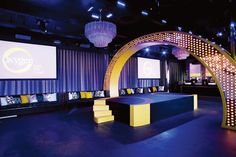 This is a good idea if your venue is small and horizontal and your event is somewhat intimate. Instead of opting for your usual cocktail tables, we can have a lounge-y fill with your couches and video screens on the wall. The stage is also off-centre and atypical.