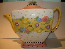 yellow mary engelbreit teapot | Mary Engelbreit Teapot Ceramic Floral Lady Bug Pinks Yellow White ...