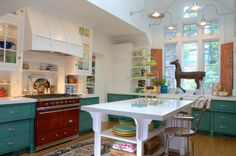Who said kitchens can't be fun? Check out this colorful Alison Kandler kitchen
