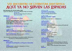 Programa del 8º Encuentro de Literatura Fantástica de Dos Hermanas. Mi mesa redonda es el sábado a las 13:00