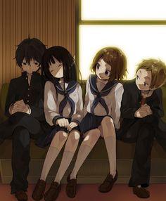 Houtarou, Eru, Mayaka & Satoshi, Hyouka fanart