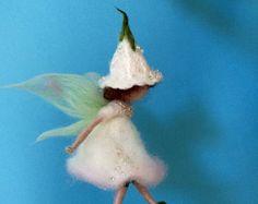 Needle felted fairy, Waldorf inspired, Home decor, Wool Flower Fairy, White angel ,White elf, Art doll, Nursery, Gift, Doll miniature