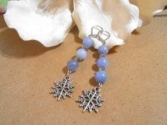 Ice blue snowflake earrings and Christmas card by CharismaBolivia