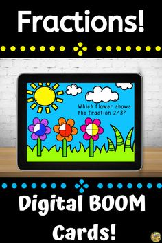 Fractions – Digital Task Cards – Distance Learning Going paperless? Looking for something engaging and fun? Try using task cards on your computers or mobile devices! This deck of cards focuses on identifying fractional parts and includes 18 slides. The fractions used in this deck include the following: 1/2 1/3 2/3 1/4 2/4 3/4 This deck is great for beginning fractions and has lots of practice in identifying fractions. Fun Math Activities, Math Resources, Grade My Teacher, Thing 1, Common Core Math, Elementary Math, Fractions, Math Lessons, Task Cards