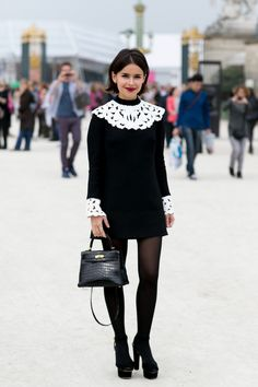 Street style star Miroslava Duma channels '60s-era London in this lace-collared mini.