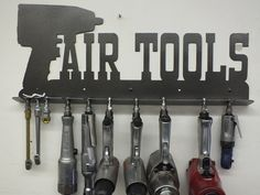 Mechanic's Air Tool Rack - Toolbox - Shop Sign - Tool Storage - Metal Wall Art Man Cave GREAT GIFT. Mechanic's air tools rack. As pictured the rack is 23 1/4 inches wide by 9 3/4 inches tall (before bending it is 23 1/4 x 12 inches tall). I have been using an aluminum air tool rack I purchased on the Internet somewhere a couple of years ago. With this load on it it would sag quite a bit. Not this one! Decided to make myself something for a change. These racks are cut from 14 gauge steel…