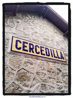 Letrero en la estación de Cercedilla. Sierra de Madrid. Comunidad de Madrid. Sign of the train station of Cercedilla in the Community of Madrid