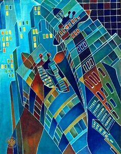 Казакова Наталья Ивановна Батик и роспись по ткани Люблю под окнами гулять Анималистика Абстракционизм Хлопок, холодный батик. 90х70 1991 животные жираф дома