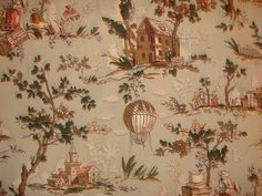 1930s France Balloon Toile de Jouy Fabric