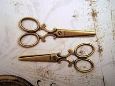 Large Oxidized Brass Plated Scissor Stampings (2) - BORAT3148 Jewelry Finding