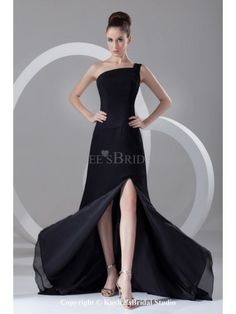 Chiffon One-Shoulder Neckline Chapel Train A-Line Prom Dress