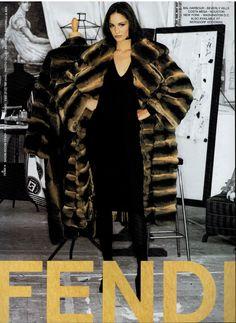 1995 Fendi fur ad with Ines Rivero Ad Fashion, Fashion Prints, Couture Fashion, Editorial Fashion, Vintage Fashion, Fashion Guide, Fendi Fur Coat, Ines Rivero, Club Outfits For Women