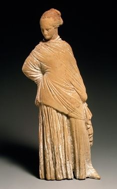 Terracotta statuette of a standing woman  Period: Classical Date: late 4th–early 3rd century B.C. Culture: Greek, probably Boeotian Medium: Terracotta Dimensions: H. 6 7/16 in. (16.4 cm)