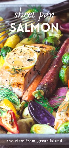 This quick and easy sheet pan salmon with caramelized vegetables is a simple and healthy one pan dinner that will get oohs and aahs from everybody at your table. #sheetpandinner #salmon #fish #healthydinner #easysalmon #salmonrecipe #onepotmeal #glutenfree @whole30 #paleo #rainbow #roastedvegetables #roastedsalmon Healthy Salmon Recipes, Easy Healthy Dinners, Veggie Recipes, Seafood Recipes, Beef Recipes, Healthy Food, One Pan Dinner, Island Food, Roasted Salmon