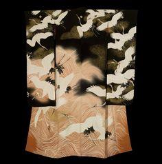 Yuzen Dyed Furisode, late Taishen to early Showa Period.  The Kimono Gallery