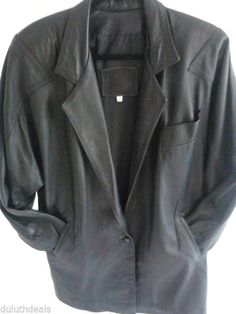 Womens Black Leather Jacket  Size Medium