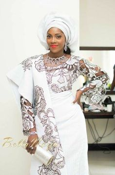 Nigerian Singer Tiwa Savage in a sophisticated traditional Yoruba top and wrapper (sarong) at her engagement party African Wedding Attire, African Attire, African Wear, African Women, African Dress, African Fashion, African Style, African Outfits, Ghanaian Fashion