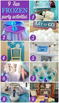 Planning a Frozen birthday party? Here are 9 fun Frozen party activities. Frozen Themed Birthday Party, 6th Birthday Parties, Birthday Fun, Birthday Ideas, Princess Birthday, Princess Party, Frozen Party Activities, Frozen Party Games, Schneemann Party