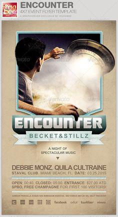 This Encounter Event Flyer Template is sold exclusively on graphicriver, it can be used for your Birthday Parties, Music/Club Events or for any other marketing projects. The files are easy to modify, change colors, dimensions and all text are editable.