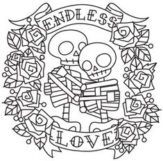 Endless Love Skeletons | Urban Threads: Unique and Awesome Embroidery Designs