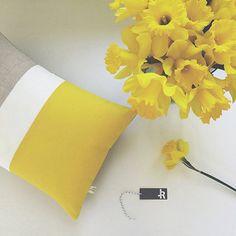 Lemon Yellow Linen Color Block Cushion Cover by #JillianReneDecor