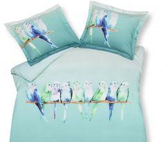 Parakeets ocean blue dekbedovertrek,parkiet,vogeltjes, rij op een tak,kleur, blauw, groen en paars,katoensatijn