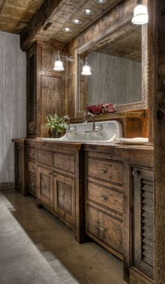 Rustic Bathroom Vanity Idea with Dark Wood Looking for a bathroom vanity idea for your farmhouse? Luckily, we have curated unique and simple farmhouse bathroom vanity ideas to help you take your bathroom from drab to that rustic farmhouse dream. Cabin Bathrooms, Rustic Bathrooms, Dream Bathrooms, Rustic Cabin Bathroom, Pink Bathrooms, Rustic Nursery, Beautiful Bathrooms, Rustic Bathroom Designs, Rustic Bathroom Vanities