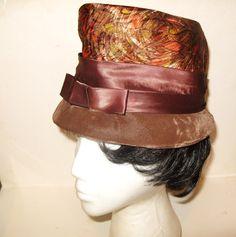 Brown Velvet Satin Gold Orange Metallic Lame Top Hat Vintage 1960's Mad Men