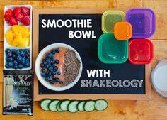 Shakeology Smoothie Bowl - 1/2 green, 1/2 yellow/ 1 purple, 1 red, 1 orange