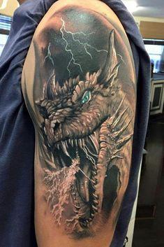 tatuajes para hombres Dragon Head Tattoo, Dragon Tattoos For Men, Dragon Sleeve Tattoos, Japanese Dragon Tattoos, Cool Tattoos For Guys, Trendy Tattoos, Dragon Tattoo Shoulder, 3d Tattoos For Men, Shoulder Tattoos