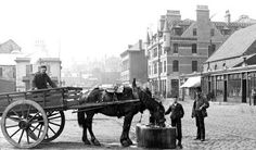 Old photograph of a horse and cart, shops, houses and people on Guild Street in Aberdeen , Scotland . All photographs are copyright of S. Old Pictures, Old Photos, Aberdeen Harbour, Horse Cart, Granite City, Aberdeen Scotland, City By The Sea, Old Photographs, Model Trains